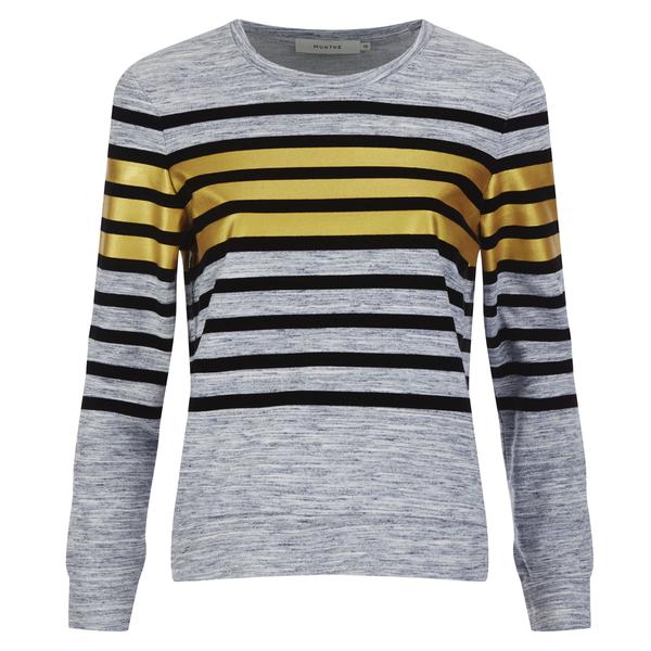 Munthe Women's Empire Navy Stripe Detail Sweatshirt - Navy