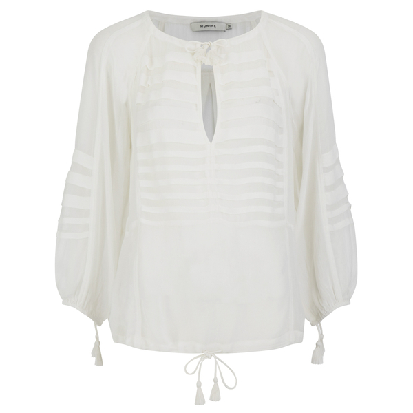Munthe Women's Equal Sheer Tassel Detailed Blouse - Ivory