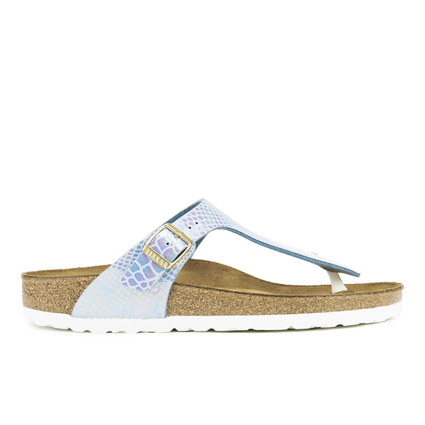Birkenstock Women's Gizeh Shiny Snake Toe-Post Sandals - Sky