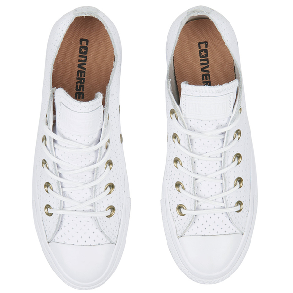 2022af0d7322 Converse Women s Chuck Taylor All Star Perforated Leather Ox Trainers -  White Biscuit  Image