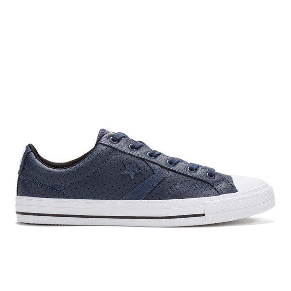 3ba2489a9304e0 Converse Men s CONS Star Player Perforated Leather Trainers - Navy White   Image 1