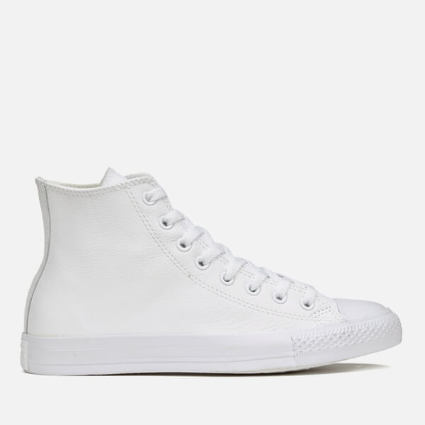 Converse Chuck Taylor All Star Leather Hi-Top Trainers - White Monochrome   Image 1 8df7e9134