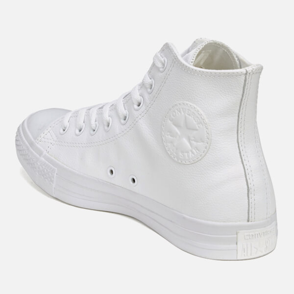Converse Chuck Taylor All Star Leather Hi-Top Trainers - White Monochrome   Image 5 2593bce07