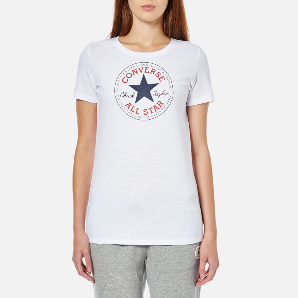 converse women 39 s chuck patch crew t shirt converse white womens clothing. Black Bedroom Furniture Sets. Home Design Ideas