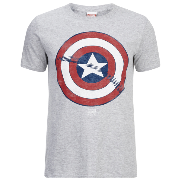 Marvel Men's Captain America Shield T-Shirt - Grey Marl