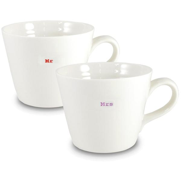 Keith Brymer Jones Mr and Mrs Bucket Mugs - Set of 2 - White