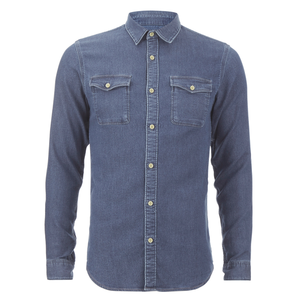 00a385810e5 Selected Homme Men s None Sweat Denim Shirt - Light Blue Denim Mens ...