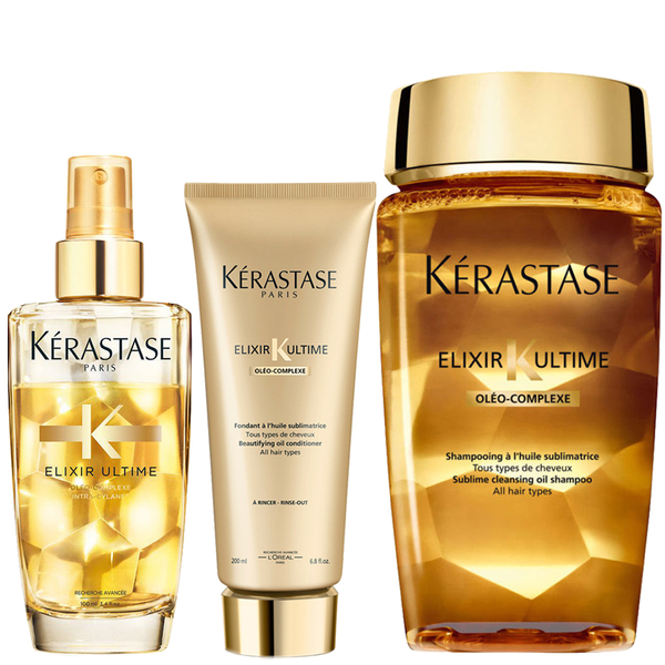Kérastase Elixir Ultime Huile Lavante Bain 250 ml, Elixir Ultime Fondant Conditioner 200 ml og Fine Hair Oil 100 ml pakke