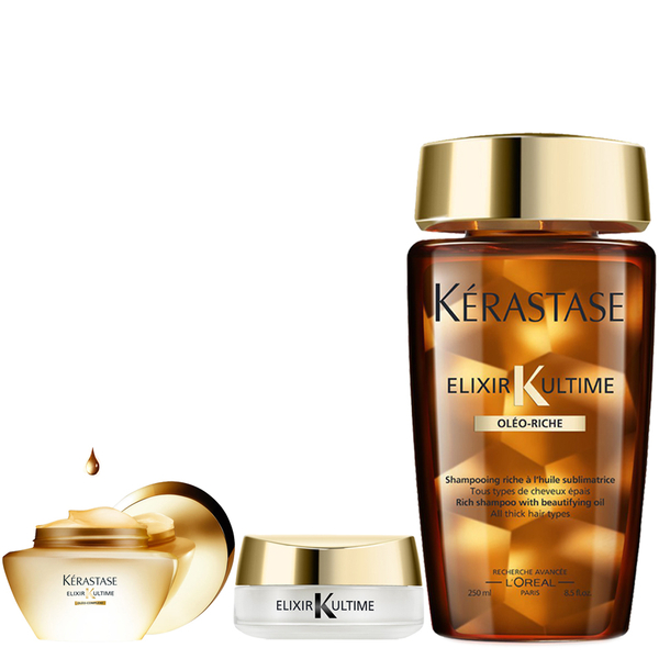 Kérastase Elixir Ultime Bain Riche 250ml, Cataplasme Masque 200ml and Elixir Serum Solide 18g Bundle