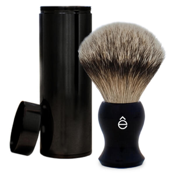 eShave Silvertip Badger Hair Travel Shaving Brush - Black