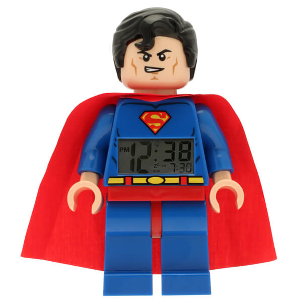 LEGO DC Comics Super Heroes Superman Mini Figure Clock