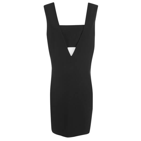 T by Alexander Wang Women's Poly Crepe Low V Dress with Bandeau Insert - Black