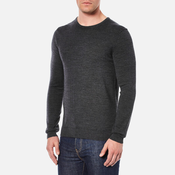 Selected Homme Men's Tower Merino Crew Neck Knitted Jumper - Medium Grey  Melange: Image 2