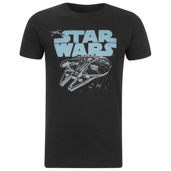 Star Wars Men's Retro Falcon T-Shirt - Black