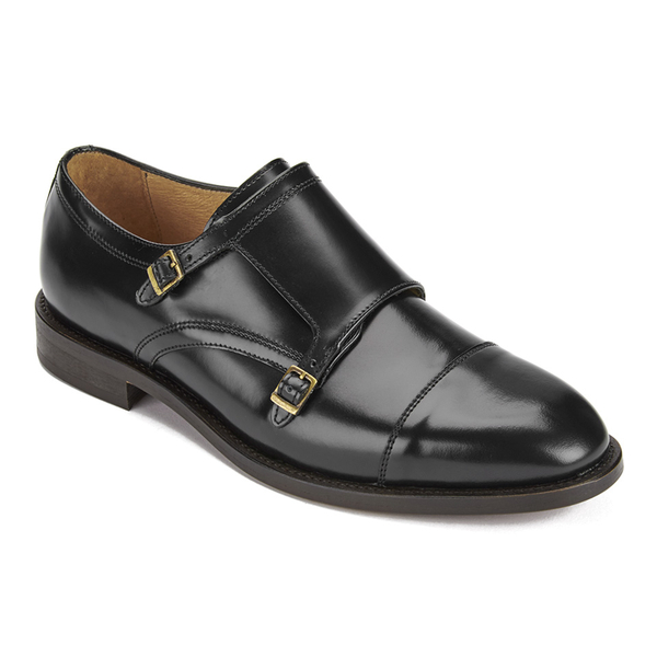 Hudson London Men's Baldwin Hi Shine Leather Monk Shoes - Black: Image 2