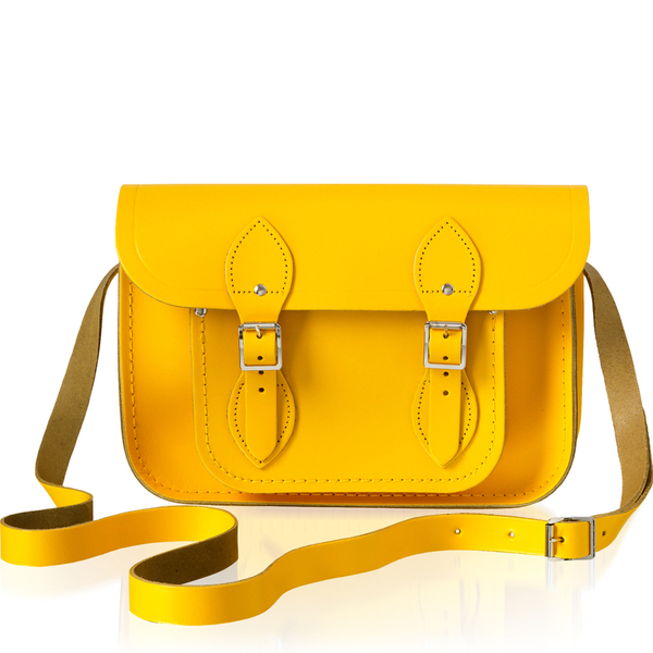The Cambridge Satchel Company Women's 11 Inch Leather Satchel with Branded Hardware - Yellow