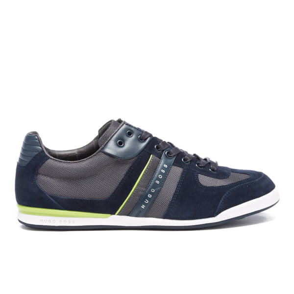BOSS Green Men's Akeen Nylon/Suede Trainers - Navy
