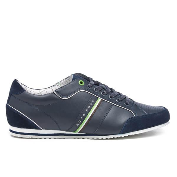 BOSS Green Men's Victoire LA Leather Trainers - Dark Blue