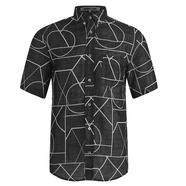 McQ Alexander McQueen Men's Short Sleeve Shields 01 Angle All Shirt - Black Angle