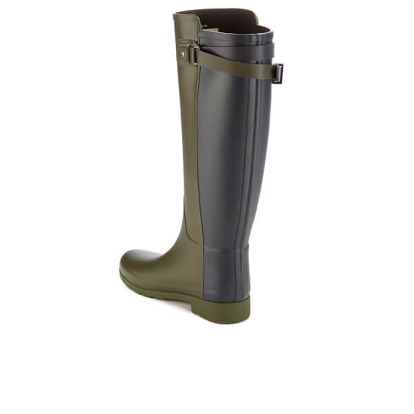 Hunter Women's Original Tall Refined Back Strap Wellies - Dark Olive/Navy - UK 4 aIEtFWO