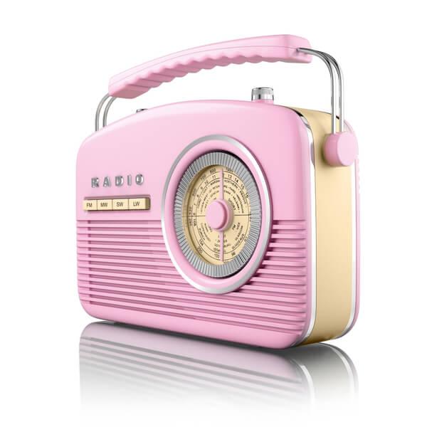 Akai Vintage 50s Style Portable Retro Am Fm Radio Pink