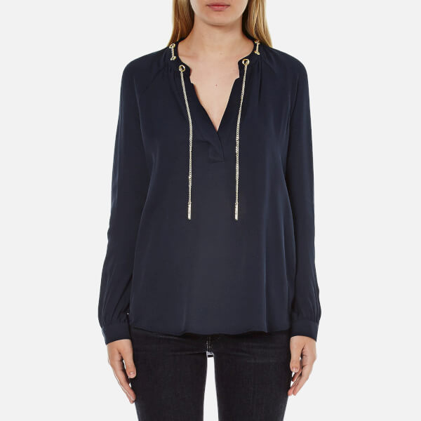 MICHAEL MICHAEL KORS Women's Chain Neck Long Sleeve Shirt - New Navy