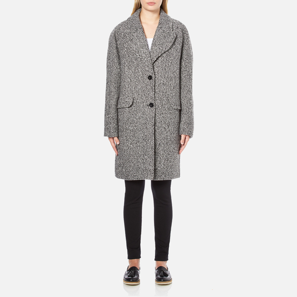 Carven Women's Oversized Two Buttoned Coat - White/Black