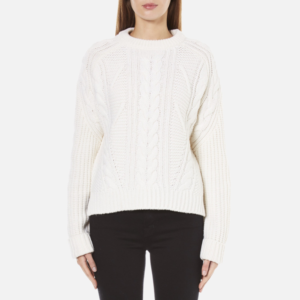 Carven Women's Cable Knit Cropped Jumper - Cream