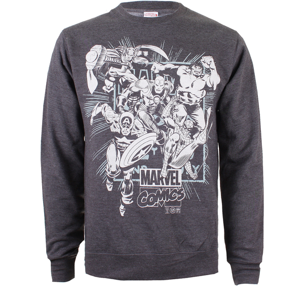 Marvel Men's Band of Heroes Sweatshirt - Dark Grey Marl