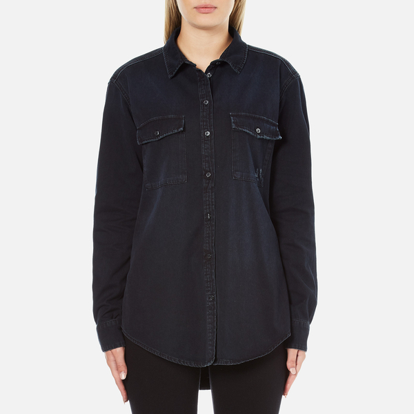 MSGM Women's Logo Back Oversized Denim Shirt - Black