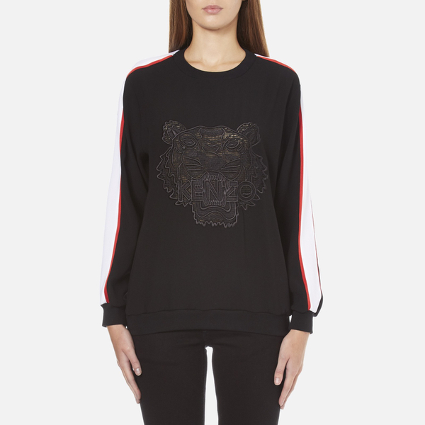 KENZO Women's Contrast Side Stripe Tiger Sweatshirt - Black