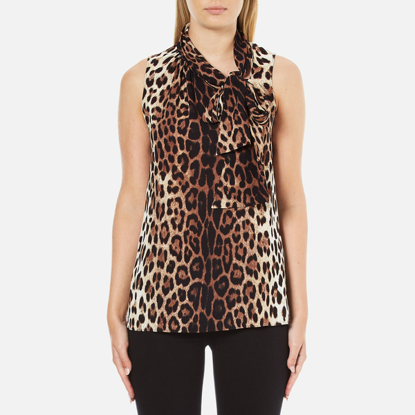 Boutique Moschino Women's Tie Neck Top - Leopard