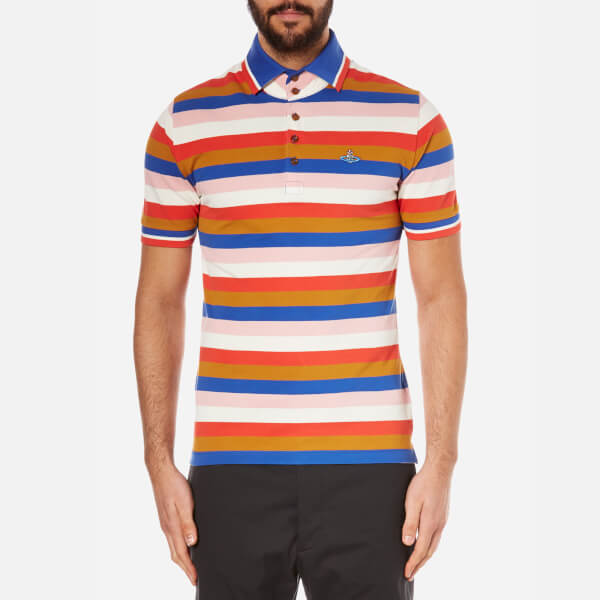 Vivienne Westwood MAN Men's Striped Pique Krall Polo Shirt - Pink Stripe