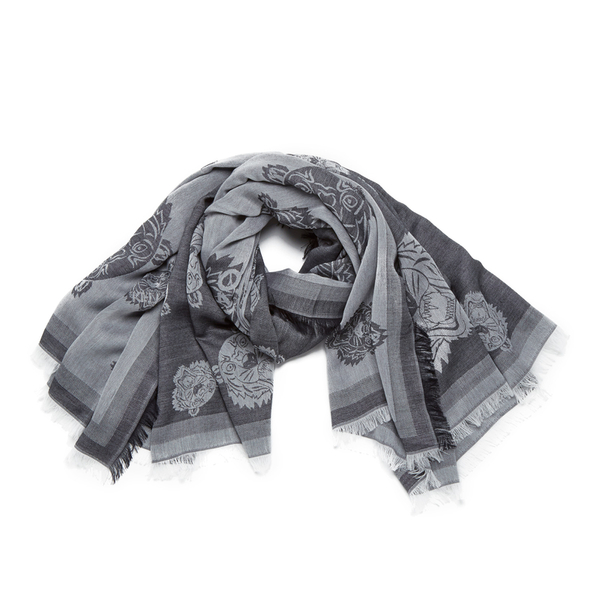 KENZO Women's Iconics Tiger Heads Scarf - Grey