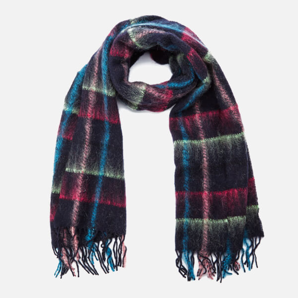 Paul Smith Accessories Women's Mohair Check Scarf - Navy