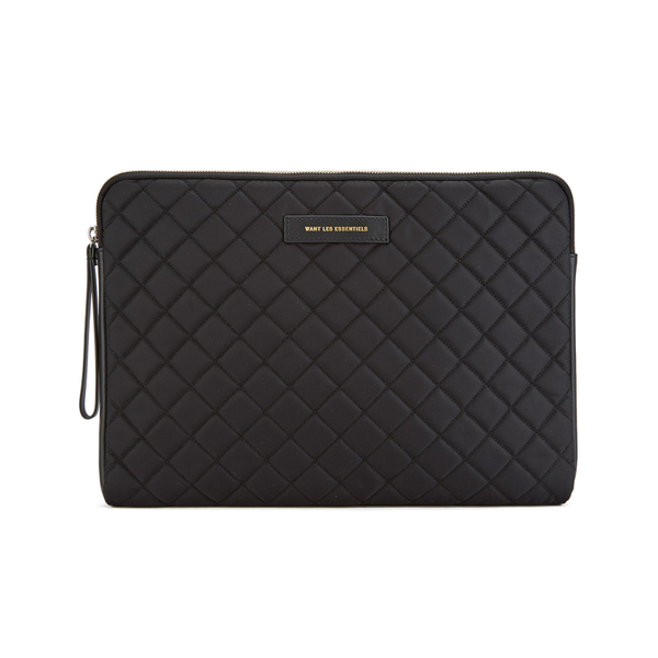WANT LES ESSENTIELS Men's Florio 13' Computer Folio - Black Quilt/Black