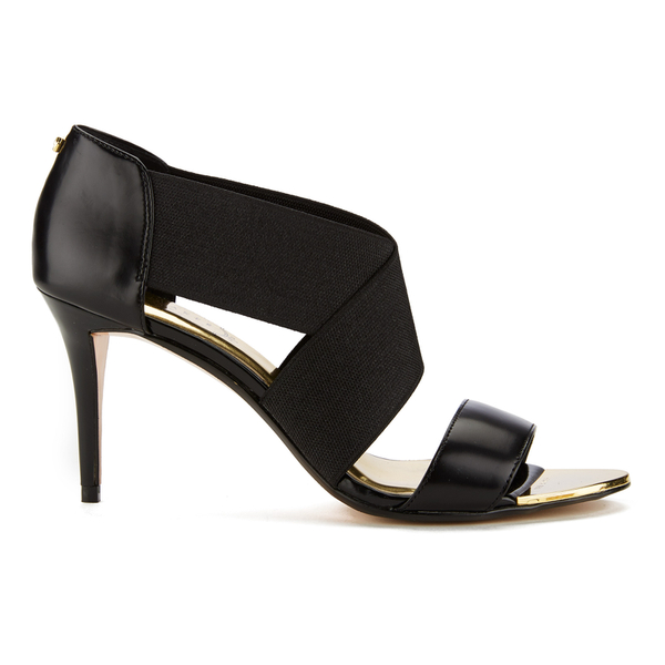 Ted Baker Women's Leniya Leather Elastic Strap Heeled Sandals - Black