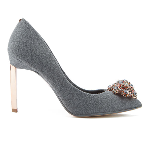 Ted Baker Women's Peetch Crystal Brooch Toe Court Shoes - Grey