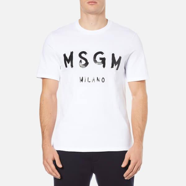 MSGM Men's Logo Short Sleeve T-Shirt - White