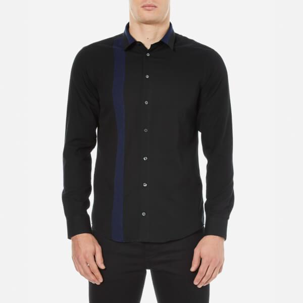 MSGM Men's Contrast Denim Stripe Collar and Side Shirt - Blue