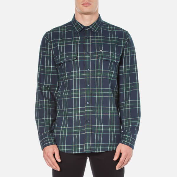 OBEY Clothing Men's Highland Plaid Flannel Shirt - Green Multi