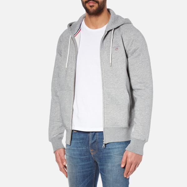 d0b5f11330801 GANT Men s Original Full Zip Hoody - Grey Melange Mens Clothing ...