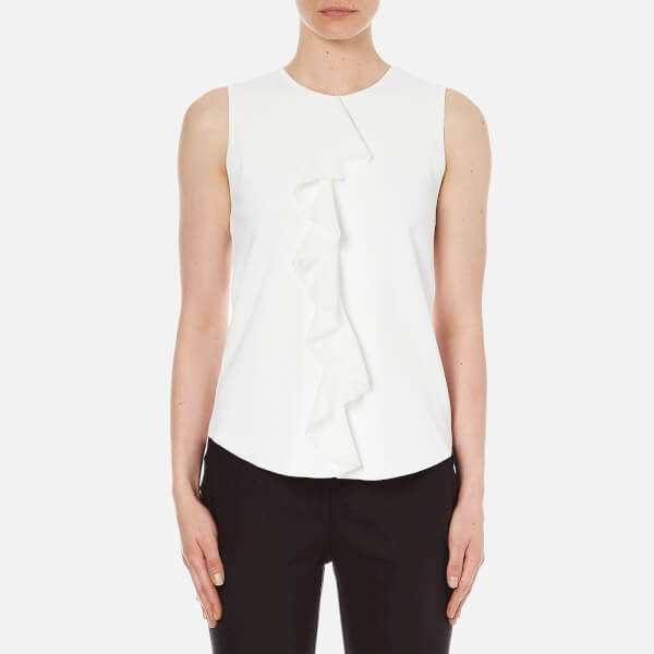 Theory Women's Jastrid Lustrate Top with Frill - Cream