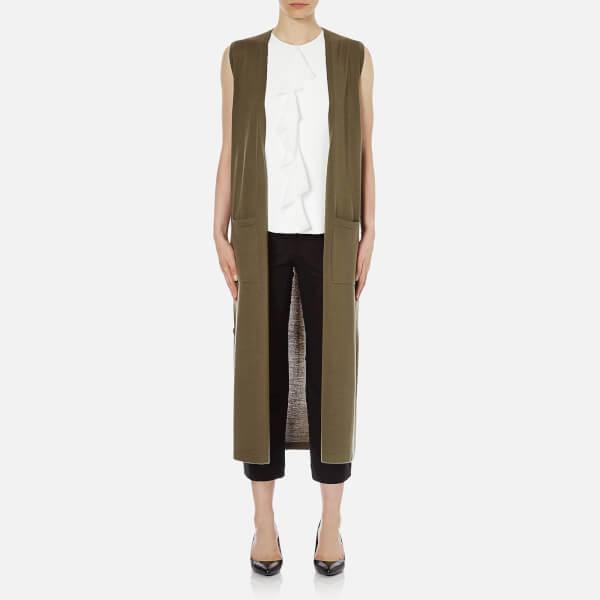 Theory Women's Torina Wool Sleeveless Cardigan - Moss