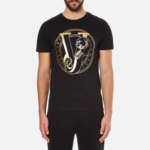 Versace jeans men 39 s foil print t shirt black clothing for Foil print t shirts custom