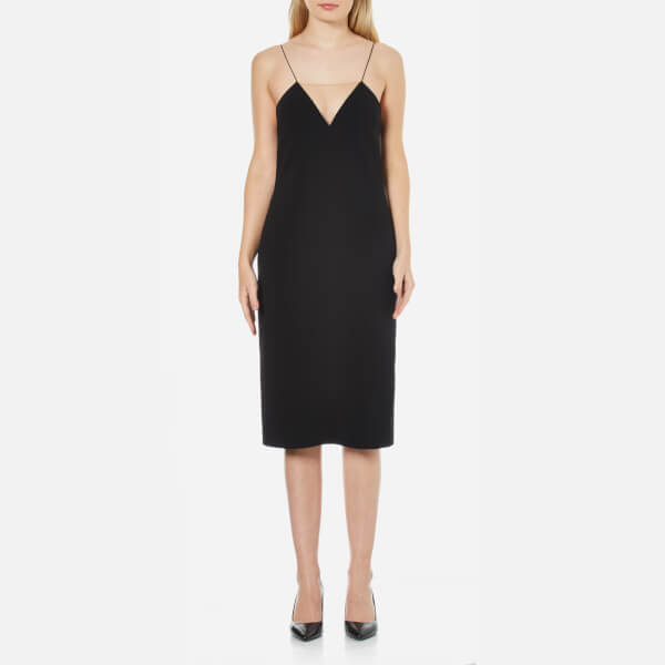Alexander Wang Women's V Neck Slip Dress with Sheer Insert - Jet
