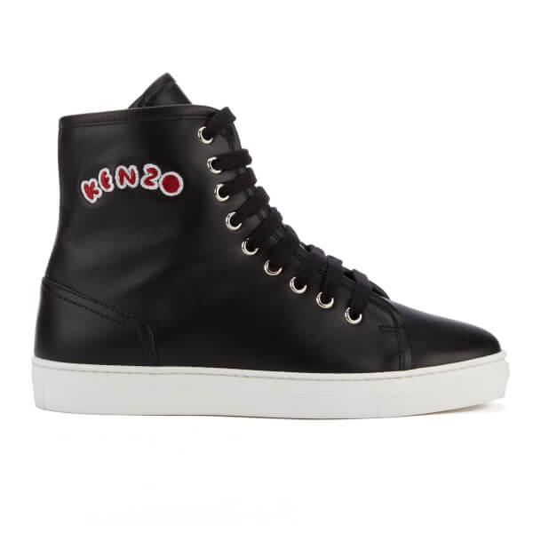 KENZO Women's K-Skate High Top Trainers - Black/Pink Fur
