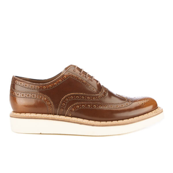 Grenson Men's Stanley V Crackle Leather Brogues - Tan