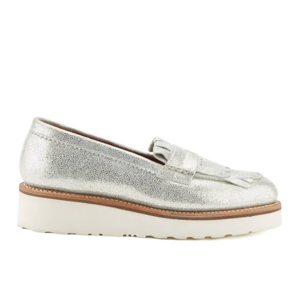 fff251330aa Grenson Women s Juno Sparkle Frill Loafers - Silver  Image 1
