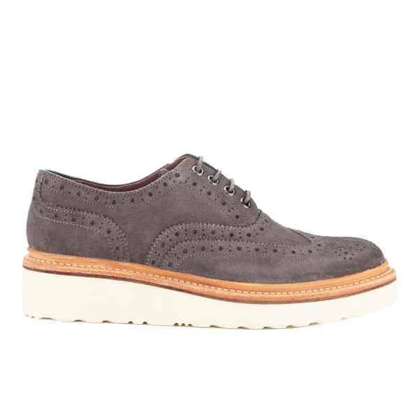 Grenson Women's Emily V Suede Brogues - Charcoal